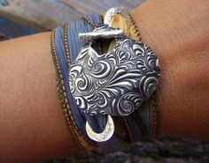 """""""Wonderful bracelet- my daughter loved it"""" #5StarReview of our Floral Silk Wrap Bracelet by HappyGoLicky $49.95 #UniqueJewelry #ArtisanJewelry"""