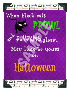 When Black Cats Prowl Halloween Printable