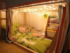 Ikea KURA bunk bed fort with bonus pillow mattress tutorial by nikki Cama Ikea Kura, Fort Bed, Bed Tent, Kura Bed Hack, Ikea Kura Hack, Ikea Loft Bed Hack, Ikea Malm, Reading Nook Kids, Bedtime Reading