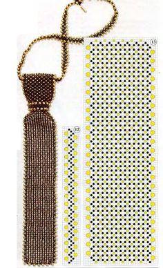 черно-золотой галстук из бисера
