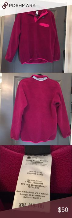 Pink/raspberry Patagonia fleece pullover Pink/raspberry Patagonia fleece pullover! In excellent condition! Only worn a few times! Size girls XXL but can fit a woman's S/M Patagonia Jackets & Coats
