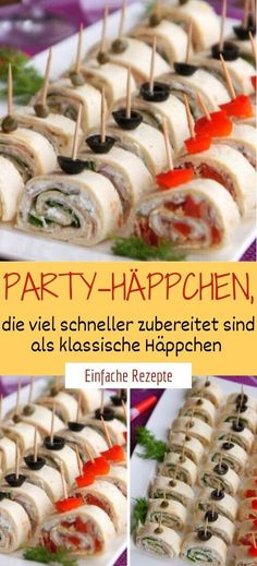 Party appetizers that are prepared much faster than classic appetizers - DESSERT - Appetizers for party Party Finger Foods, Snacks Für Party, Finger Food Appetizers, Healthy Appetizers, Appetizers For Party, Appetizer Recipes, Healthy Snacks, Game Party, Tortilla Wraps