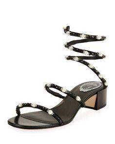 c63412db001b Rene Caovilla Snake Coil Embellished Sandal