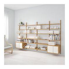 SVALNÄS Wall-mounted storage combination, bamboo, white bamboo/white 116 7/8x13 3/4x69 1/4