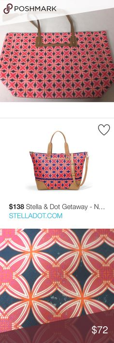 """Genuine Stella & Dot Tote (SOLD OUT) Genuine Stella & Dot La Totale Navy Red Medallion Tote (Getaway collection) retired!    13 1/4"""" height x 17 1/2"""" length x 5 1/2 depth x 8""""strap drop Stella & Dot Bags Totes"""