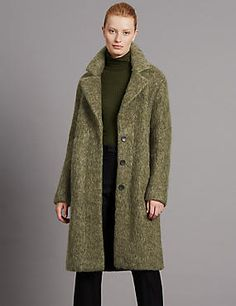 Buy the Brushed Unstructured Blanket Coat from Marks and Spencer's range. Blanket Coat, What I Wore, Fur Coat, Take That, Shopping, Fitness, How To Wear, Jackets, Stuff To Buy