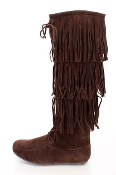 BAYLEE10 BROWN KNEE HIGH LACE UP MULTI-LAYER FRINGE BOOT ONLY $20.88