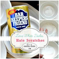 White Dish Scratch Removal - Wow, pictures showing how Bar Keepers Friend removes the gray scratches off of worn, white dishes.