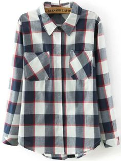 Lapel Plaid Pockets Blouse