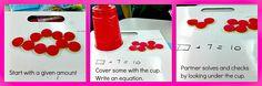 Idea for teaching missing addend problems - common core gr. Math Classroom, Kindergarten Math, Teaching Math, Teaching Ideas, Classroom Projects, Future Classroom, Classroom Ideas, Math Resources, Math Activities