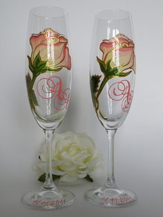7d0f2df6a40f Hand Painted Wedding Toasting Flutes Set Of 2 Personalized Champagne Glasses  Wonderful Pink Rose