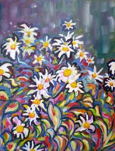 Painting On Stretched Canvas - Mom's Daisies