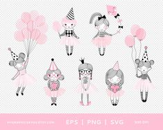 Birthday baby girl clipart set Pink ballerina doll  image  Cute party girl cartoon instant download Commercial use Baby Girl Clipart, Doll Drawing, Ballerina Doll, Girl Cartoon, Overlays, Commercial, Clip Art, Dolls, Birthday