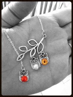 baby owl birthstone on branch necklace new mom/baby, birthday gift mother/grandma/nana, custom on Etsy, $25.90