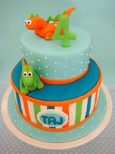 Dinosaur Birthday Cake -I think I would do something different with the top layer to match party:)