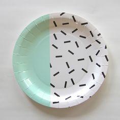 Assiette en carton design bicolore Memphis Menthe - Achat / Vente
