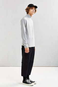 UO Basic Mock Neck Long-Sleeve Tee - Urban Outfitters
