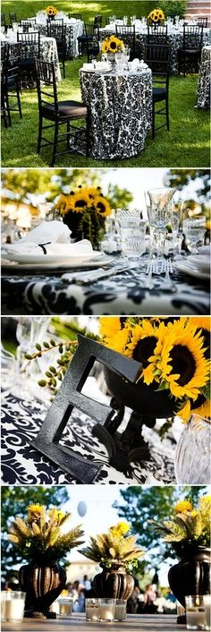 Damask and sunflowers... not my cup of tea for a wedding reception but it'd make for a cute bridal shower!