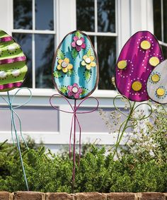Loving this Eggs Easter Garden Stake Set on #zulily! #zulilyfinds