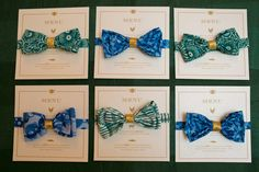 bow tie place cards/menus // photo by Erin Johnson // paper goods by paper rock scissor