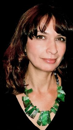 Gy Mirano wearing one of her one-of-a- kind designs - Brazilian Agate Inca Princess Necklace.