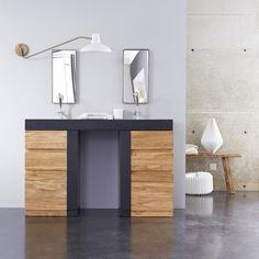 Washstand with integrated washbasin - Mary Jo teak washstand Bedroom Loft, Master Bedroom, Bathroom Furniture, Cool Furniture, Wooden Drawers, Drawer Unit, Vanity Cabinet, Raw Wood, Bespoke Design