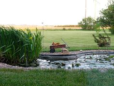 cute and simple front yard pond