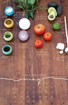 Liz Carver has made a delicious 2013 wall calendar featuring the ingredients for seasonal recipes on each month.