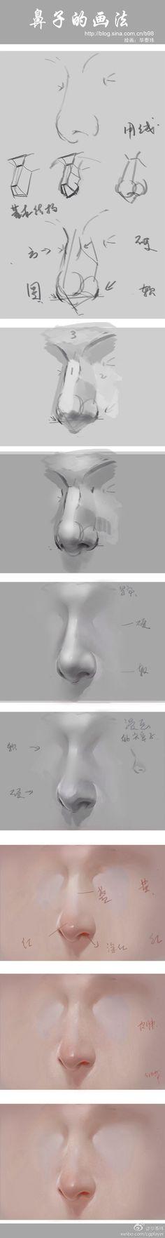 鼻子的画法@-MG-维采集到资料(499图)_花瓣插画/漫画