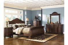 Ashley Furniture North Shore Bedroom Furniture collection in Dark Brown Cherry. Ashley North Shore Sleigh Bedroom Set with matching dresser, mirror, night stands and chest. Bedroom Furniture Sets, Home Decor Bedroom, Home Furniture, Office Furniture, Furniture Deals, Furniture Mattress, Regency Furniture, Brown Furniture, Furniture Websites