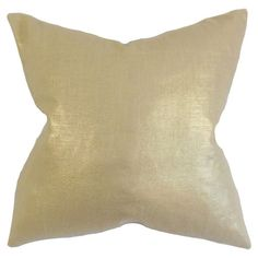 Add a pop of style to your favorite chaise or arm chair with this lovely pillow, showcasing a metallic camel hue and down insert.  P...