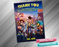 Toy Story Thank you card Toy Story 4 Birthday Thank you Toy Story Thanks Toy Story 4 thank you Toy Story Invitations, Printable Birthday Invitations, Party Printables, Cumple Toy Story, Birthday Thank You Cards, Toy Barn, 4th Birthday Parties, Card Stock, Toys