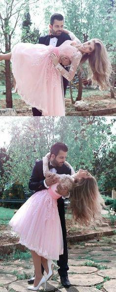 A-line Pink Princess Lace Long sleeves V-neck Cute Homecoming dresses, HD0385#homecoming #homecomingdresses #2020homecoming #homecomingdress