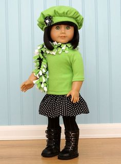 Scarf for American Girl Doll kristinej2. Green sweater, black and white skirt, black tights and boots.  I would wear this minus the hat.