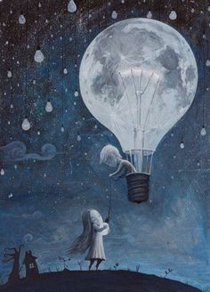 Boy in Lightbulb hot air balloon & girl holding lightbulb art