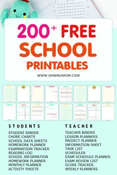 Click to download over 200 student organization printables and teacher binder printables, all for free! #freeprintables #freeplanner #student #teachers #backtoschool