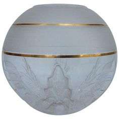 Italian Murano Large Frosted Orb Globe and Gold Center Vase (6515 MAD) ❤ liked on Polyvore featuring home, home decor, decorative bowls, frosted globe, gold home decor, floral home decor, italian home decor and gold leaf home decor
