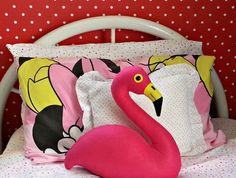 Flamingo cushion. Felt flamingo cushion. Decorative pillow. Pink flamingo faux taxidermy. Stuffed bird. Made to order.