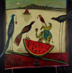 See-Saw contemporary Scottish Paintings. View all Morag MUIR art and Scottish artwork at Red Rag art gallery. Call Art, Seesaw, Still Life Art, Watercolor Illustration, Contemporary Artists, Art Gallery, Birds, Paintings, Abstract