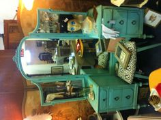 Antique vanity painted Tiffany blue
