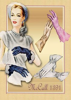 Sewing Pattern 1940s Gloves Vintage McCall by FloradoraPresents