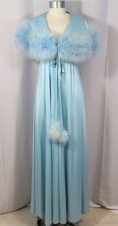 Vintage 70s Sky Blue 4 Piece Bridal Trousseau Peignoir Set S/M - Found on Ruby Lane For sale on Ruby ALane