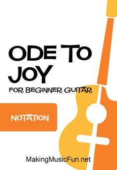 Ode to Joy - Free Beginner Guitar Sheet Music Free Printable Sheet Music, Free Sheet Music, Music Tabs, Ode To Joy, Guitar Sheet Music, Guitar Chord Chart, Lead Sheet, Easy Guitar, Guitar For Beginners