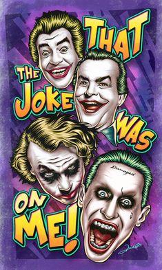"""Ilustração homenageando o maior vilão de todos os tempos, Coringa, e seus interpretes no cinema. Na arte aparecem o """"palhaço"""" Cesar Romero (1966), o """"gangster"""" Jack Nicholso…"""