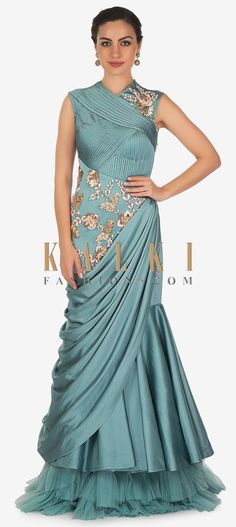 Laadesar Turkish Blue Satin Gown With Resham Work And Pleated Bodice Call or Whatsapp on or visit insta page WOMN CLOTHING. we are designer studio specialized in custom designer dresses. No CASH ON DELIVERY, worldwide delivery. Satin Gown, Chiffon Gown, Indowestern Gowns, Drape Gowns, Drape Sarees, Choli Dress, Fancy Kurti, Western Dresses, Western Outfits