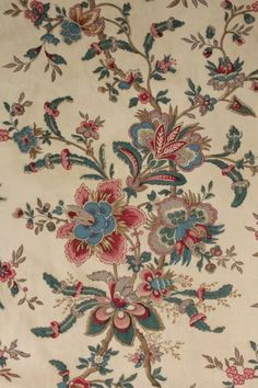 Antique French chintz linen cotton curtain woodblock printed c1840 Indienne