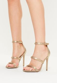 4a3b615d12c Missguided - Nude Satin Three Strap Barely There Heels Missguided