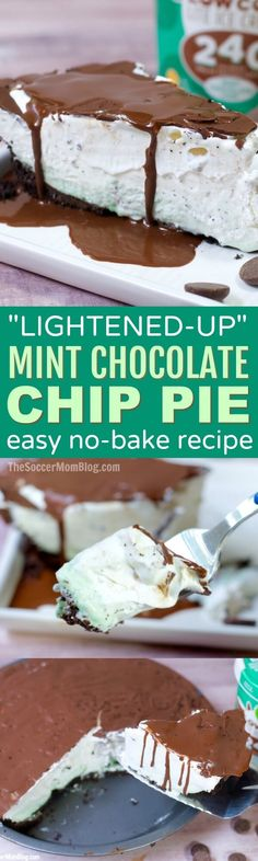This awesome no-bake recipe has all the refreshingly cool flavor you love in a Mint Chocolate Chip Pie, but with one simple swap to lighten it up! (ad)