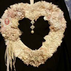 """Shabby Chic Wreath heart. Click link for more photos. Available now. My other one sold quickly  act now. Approximately 15"""" × 17""""."""