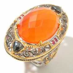 Gems en Vogue II Checkerboard-Cut Carnelian w/ Orange Sapphire Ring